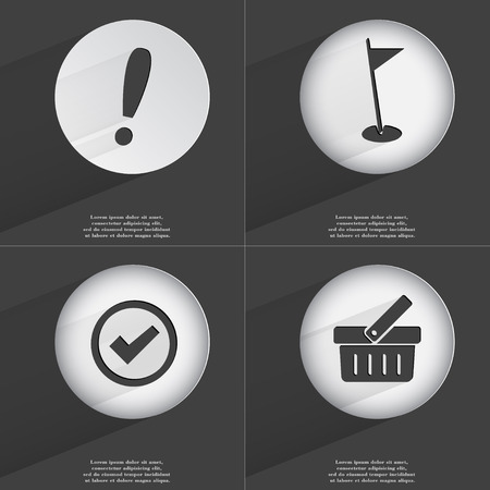 accelerated: Exclamation mark, Golf hole, Tick, Basket icon sign. Set of buttons with a flat design. Vector illustration Stock Photo
