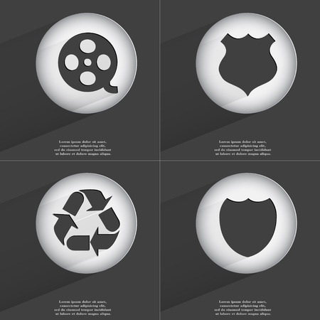 videotape: Videotape, Police badge, Recycling, Badge icon sign. Set of buttons with a flat design. Vector illustration Stock Photo
