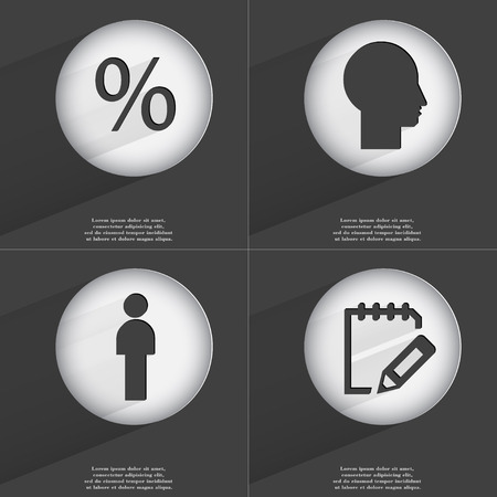 accelerated: Percent, Silhouette, Notebook icon sign. Set of buttons with a flat design. Vector illustration