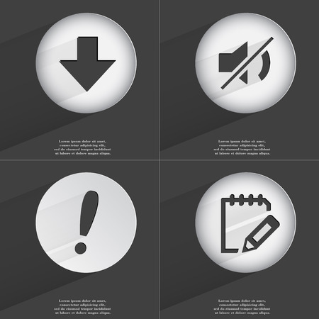 directed: Arrow directed down, Mute, Exclamation mark, Notebook icon sign. Set of buttons with a flat design. Vector illustration