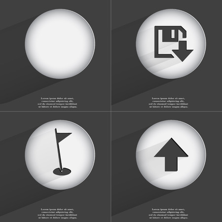 directed: Floppy disk download, Golf hole, Arrow directed upwards icon sign. Set of buttons with a flat design. Vector illustration