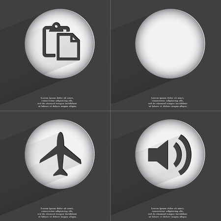 accelerated: Tasklist, Airplane, Sound icon sign. Set of buttons with a flat design. Vector illustration