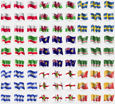 the turks: Poland, Wales, Sweden, Chechen Republic, Turks and Caicos, Chechen Republic of Ichkeria, Honduras, Alderney, Bhutan. Big set of 81 flags. Vector illustration
