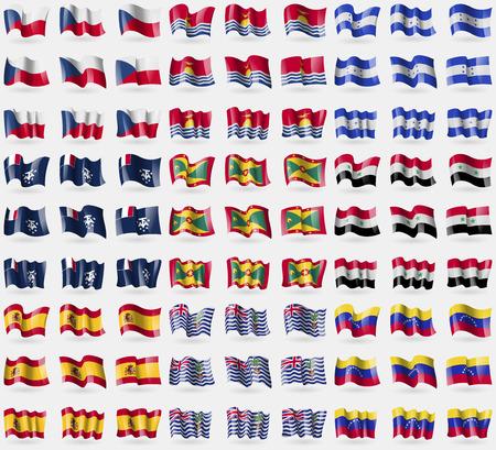 antarctic: Czech Republic, Kiribati, Honduras, French and Antarctic, Grenada, Syria, Spain, British Indian Ocean Territory, Venezuela. Big set of 81 flags. Vector illustration