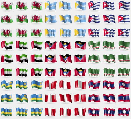 republic of peru: Wales, Tuva, Cuba, United Arab Emirates, Antigua and Barbuda, Chechen Republic of Ichkeria, Rwanda, Peru, Laos. Big set of 81 flags. Vector illustration