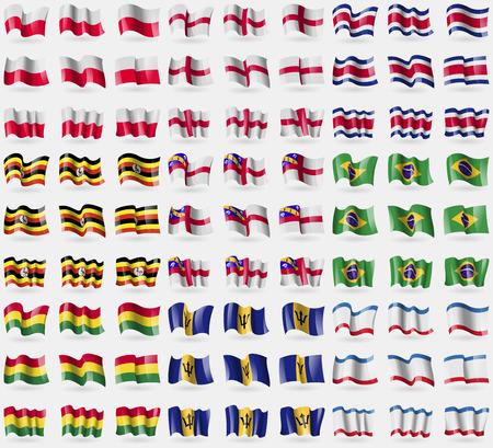 crimea: Poland, England, Costa Rica, Uganda, Herm, Brazil, Bolivia, Barbados, Crimea. Big set of 81 flags. Vector illustration Illustration