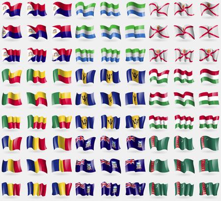 martin: Saint Martin, Sierra Leone, Jersey, Benin, Barbados, Hungary, Romania, Falkland Islands, Turkmenistan. Big set of 81 flags. Vector illustration