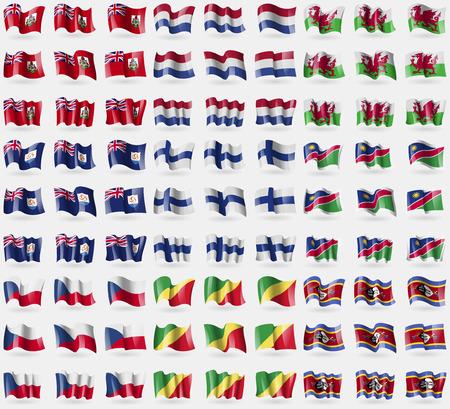 republic of the congo: Bermuda, Netherlands, Wales, Anguilla, Finland, Namibia, Czech Republic, Congo Republic, Swaziland. Big set of 81 flags. Vector illustration