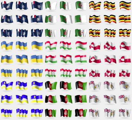 symbolize: French and Antarcic, Algeria, Uganda, Ukraine, Tajikistan, Greenland, Buryatia, Afghanistan, British Antarctic Territory. Big set of 81 flags. Vector illustration