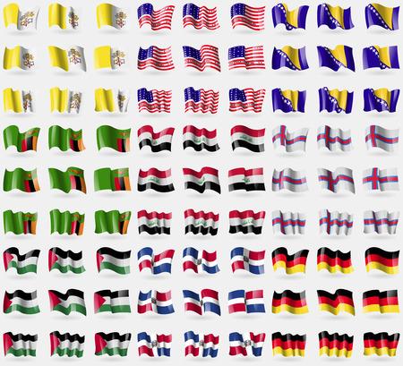 atoll: Vatican CityHole See, Bikini Atoll, Bosia and Herzegovina, Zambia, Iraq, Faroe Islands, Palestine, Dominican Republic, Germany. Big set of 81 flags. Vector illustration Illustration