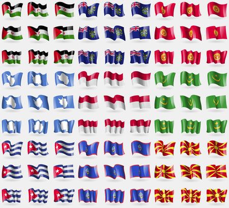 indonesia culture: Western Sahara, Pitcairn Islands, Kyrgyzstan, Antarctica, Indonesia, Mauritania, Cuba, Guam, Republic of Macedonia. Big set of 81 flags. Vector illustration