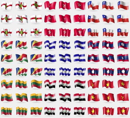 symbolize: Alderney, Isle of man, Chile, Seychelles, El Salvador, Laos, Lithuania, Iraq, Vietnam. Big set of 81 flags. Vector illustration