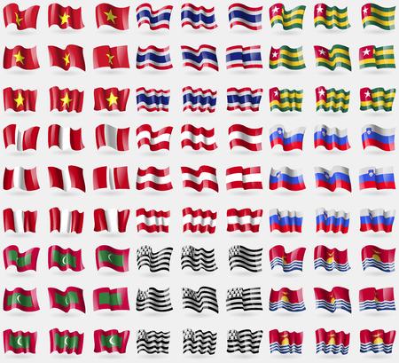 symbolize: Vietnam, Thailand, Togo, Peru, Austria, Slovenia, Maldives, Brittany, Kiribati. Big set of 81 flags. Vector illustration