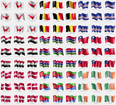 rapa nui: Pascua Rapa Nui, Bélgica, Cabo Verde, Irak, Gambia, Taiwán, Dinamarca, Eritrea, Irlanda. Gran conjunto de 81 banderas. Ilustración vectorial Vectores