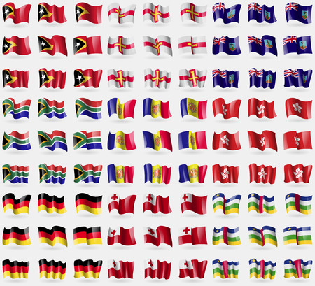 guernsey: East Timor, Guernsey, Montserrat, South Africa, Andorra, Hong Kong, Germany, Tonga, Central African Republic. Big set of 81 flags. Vector illustration