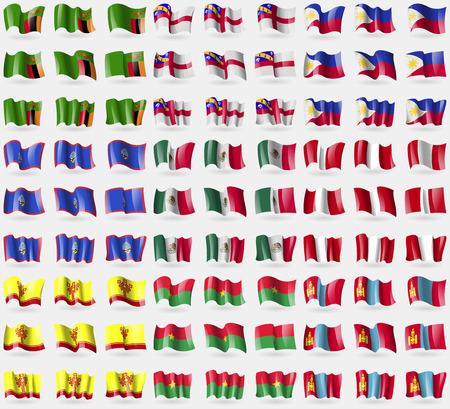symbolize: Zambia, Herm, Philippines, Guam, Mexico, Peru, Chuvashia, Burkia Faso, Mongolia. Big set of 81 flags. Vector illustration