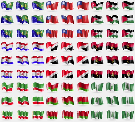 principality: Christmas Island, MyanmarBurma, Jordan, Mordovia, Sealand Principality, Angola, Chechen Republic, Belarus, Norfolk Island. Big set of 81 flags. Vector illustration Illustration