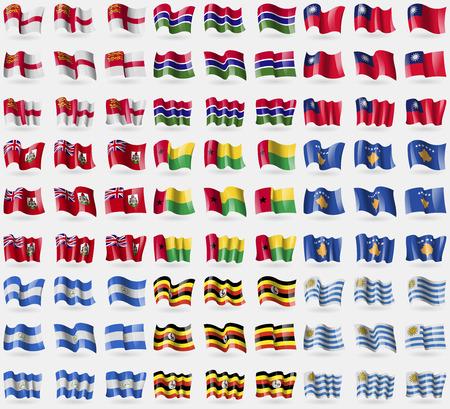 sark: Sark, Gambia, Taiwan, Bermuda, GuineaBissau, Kosovo, Nicaragua, Uganda, Uruguay. Big set of 81 flags. Vector illustration Illustration