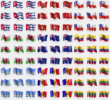 new zeland: Cuba, Montenegro, Chile, Wales, New Zeland, Ecuador, Aruba, Moldova, Lithuania. Big set of 81 flags. Vector illustration