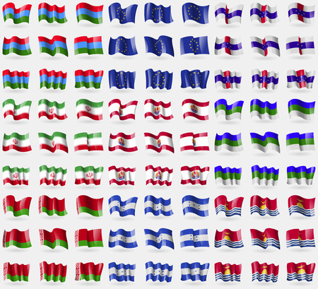 symbolize: Karelia, European Union, Netherlands Antilles, Iran, French Polynesia, Komi, Belarus, Honduras, Kiribati. Big set of 81 flags. Vector illustration