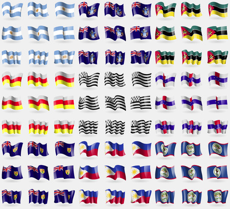 brittany: Argentina, Tristan da Cunha, Mozambique, North Ossetia, Brittany, Netherlands Antilles, Turks and Caicos, Philippines, Belize. Big set of 81 flags. Vector illustration Illustration