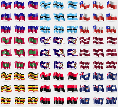 anguilla: Haiti, Botswana, Chile, Maldives, American Samoa, Latvia, Uganda, UPA, Anguilla. Big set of 81 flags. Vector illustration Illustration