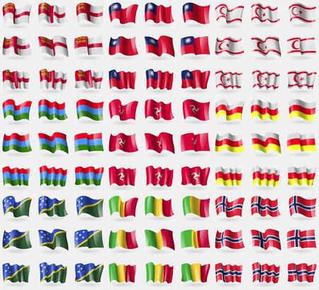 sark: Sark, Taiwan, Turkish Northen Cyprus, Karelia, Isle of man, North Ossetia, Solomon Islands, Mali, Norway. Big set of 81 flags. Vector illustration