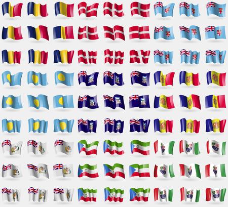 antarctic: Chad, Military Order Malta, Fiji, Palau, Falkland Islands, Andorra, British Antarctic Territory, Equatorial Guinea, Bosnia and Herzegovina Federation. Big set of 81 flags. Vector illustration Illustration