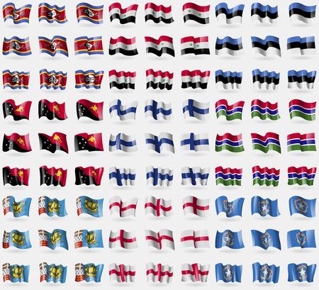 new england: Swaziland, Syria, Estonia, Papua New Guinea, Finland, Gambia, Saint Pierre and Miquelon, England, Marianna Islands. Big set of 81 flags. Vector illustration