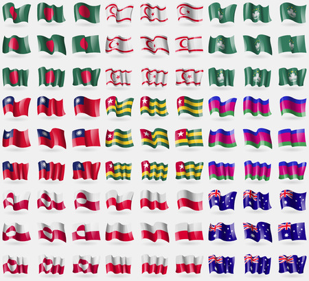 polen: Bangladesh, Turkish Northern Cyprus, Macau, Taiwan, Togo, Kuban Republic, Greenland, Polen, Australia. Big set of 81 flags. Vector illustration