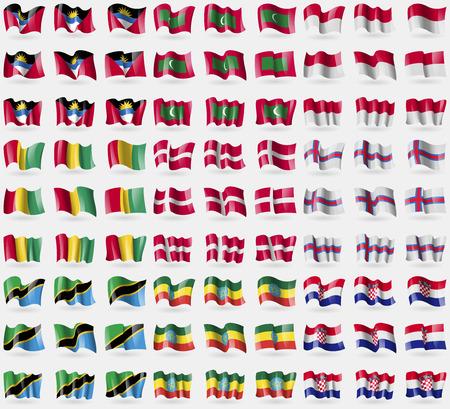 indonesia culture: Antigua and Barbuda, Maldives, Indonesia, Guinea, Denmark, Faroe Islands, Tanzania, Ethiopia, Croatia. Big set of 81 flags. Vector illustration