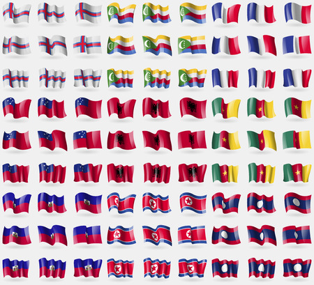 comoros: Faroe Islands, Comoros, France, Samoa, Albania, Cameroon, Haiti, Korea North, Laos. Big set of 81 flags. Vector illustration
