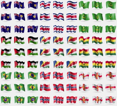 guernsey: Turks and Caicos, Costa Rica, Mauritania, Western Sahara, Seychelles, Ghana, Brazil, Norway, Guernsey. Big set of 81 flags. Vector illustration