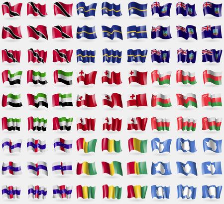 antilles: Trinidad and Tobago, Nauru, Montserrat, United Arab Emirates, Tonga, Oman, Netherlands Antilles, Guinea, Antarctia. Big set of 81 flags. Vector illustration Illustration