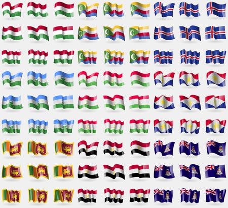 cayman: Hungary, Comoros, Iceland, KabardinoBalkaria, Tajikistan, Saba, Sri Lanka, Egypt, Cayman Islands. Big set of 81 flags. Vector illustration Illustration