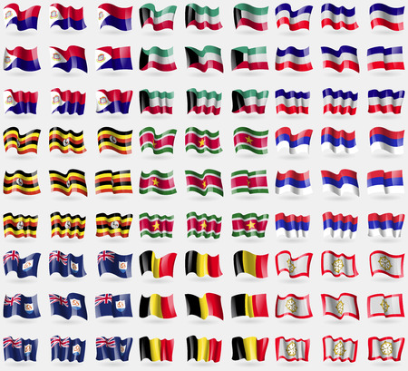 symbolize: Saint Martin, Kuwait, Los Altos, Uganda, Suridame, Republika Srpska, Anguilla, Belgium, Sikkim. Big set of 81 flags. Vector illustration