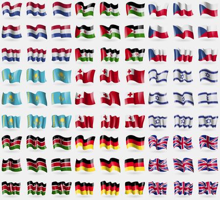 symbolize: Netherlands, Western Sahara, Czech Republic, Kazakhstan, Tonga, Israel, Kenya, Germany, United Kingdom. Big set of 81 flags. Vector illustration