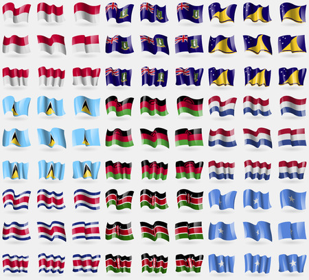 tokelau: Indonesia, VirginIslandsUK, Tokelau, Saint Lucia, Malawi, Netherlands, Costa Rica, Kenya, Somalia. Big set of 81 flags. Vector illustration