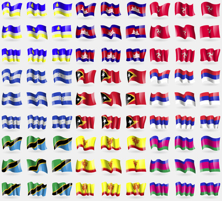 buryatia: Buryatia, Cambodia, Isle of man, Honduras, East Timor, Republika Srpska, Tanzania, Chuvashia, Kuban Republic. Big set of 81 flags. Vector illustration