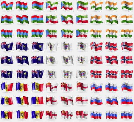 guinea equatoriale: Carelia, Guinea Equatoriale, India, Sant'Elena, Saint Barthelemy, Norvegia, Moldavia, Sark, Slovenia. Grande insieme di 81 bandiere. Illustrazione vettoriale