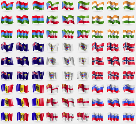 helena: Karelia, Equatorial Guinea, India, Saint Helena, Saint Barthelemy, Norway, Moldova, Sark, Slovenia. Big set of 81 flags. Vector illustration Illustration
