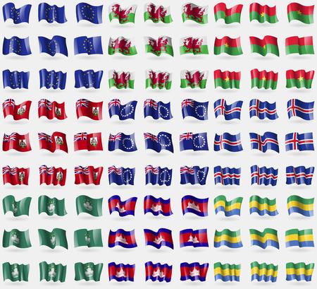 european culture: European Union, Wales, Burkia Faso, Bermuda, Cook islands, Iceland, Macau, Cambodia, Gabon. Big set of 81 flags. Vector illustration