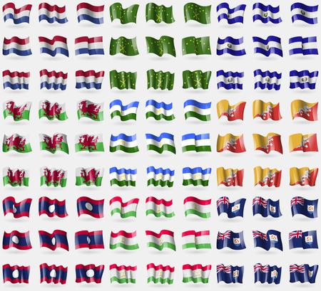 anguilla: Netherlands, Adygea, El Salvador, Wales, Bashkortostan, Bhutan, Laos, Tajikistan, Anguilla. Big set of 81 flags. Vector illustration