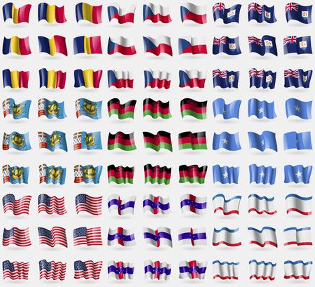 anguilla: Chad, Czech Republic, Anguilla, Saint Pierre and Miquelon, Malawi, Somalia, USA, Netherlands Antilles, Crimea. Big set of 81 flags. Vector illustration