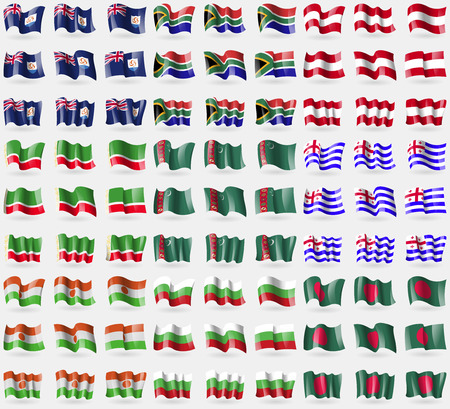 anguilla: Anguilla, South Africa, Austria, Chechen Republic, Turkmenistan, Ajaria, Niger, Bulgaria, Bangladesh. Big set of 81 flags. Vector illustration