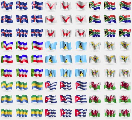 rapa nui: Islandia, Pascua Rapa Nui, Sud�frica, Jakasia, Santa Luc�a, VirginIslandsUS, Gab�n, Cuba, Gales. Gran conjunto de 81 banderas. Ilustraci�n vectorial Vectores