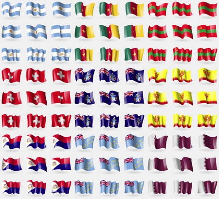 martin: Argentina, Cameroon, Transnistria, Switzerland, Tristan da Cunha, Chuvashia, Saint Martin, Tuvalu, Qatar. Big set of 81 flags. Vector illustration