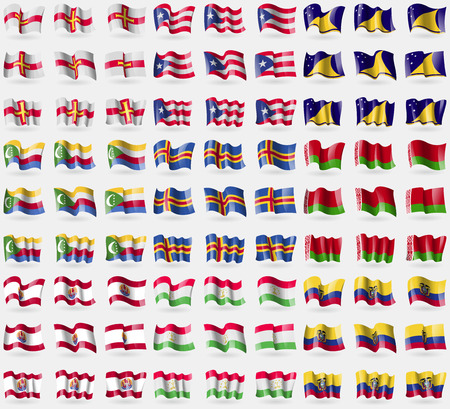 tokelau: Guernsey, Puerto Rico, Tokelau, Comoros, Aland, Belarus, French Polynesia, Tajikistan, Ecuador. Big set of 81 flags. Vector illustration