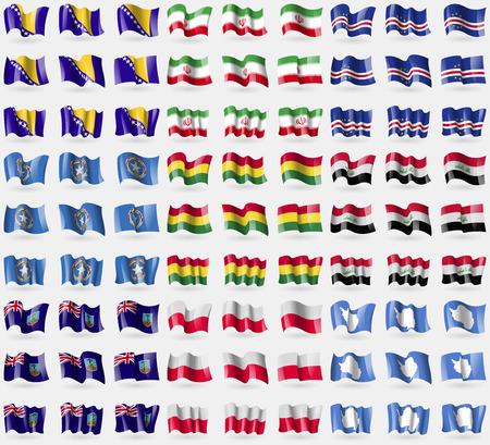 cape verde: Bosnia and Herzegovina, Iran, Cape Verde, Marianna Islands, Bolivia, Iraq, Montserrat, Poland, Antarctica. Big set of 81 flags. Vector illustration Illustration
