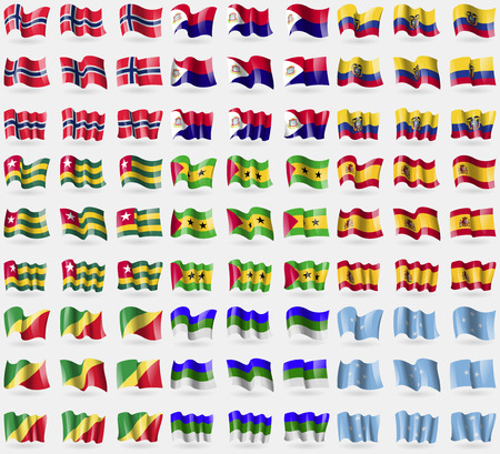 martin: Norwegia, Saint Martin, Ekwador, Togo, Wyspy Świętego Tomasza i Książęca, Hiszpania, Republika Konga, Komi, Mikronezja. Duży zestaw 81 flag. Ilustracji wektorowych